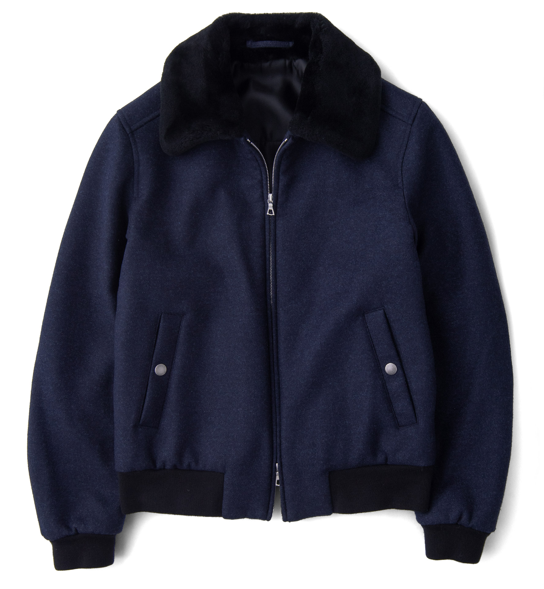Zoom Image of Biella Navy Wool Shearling Collar Flight Jacket