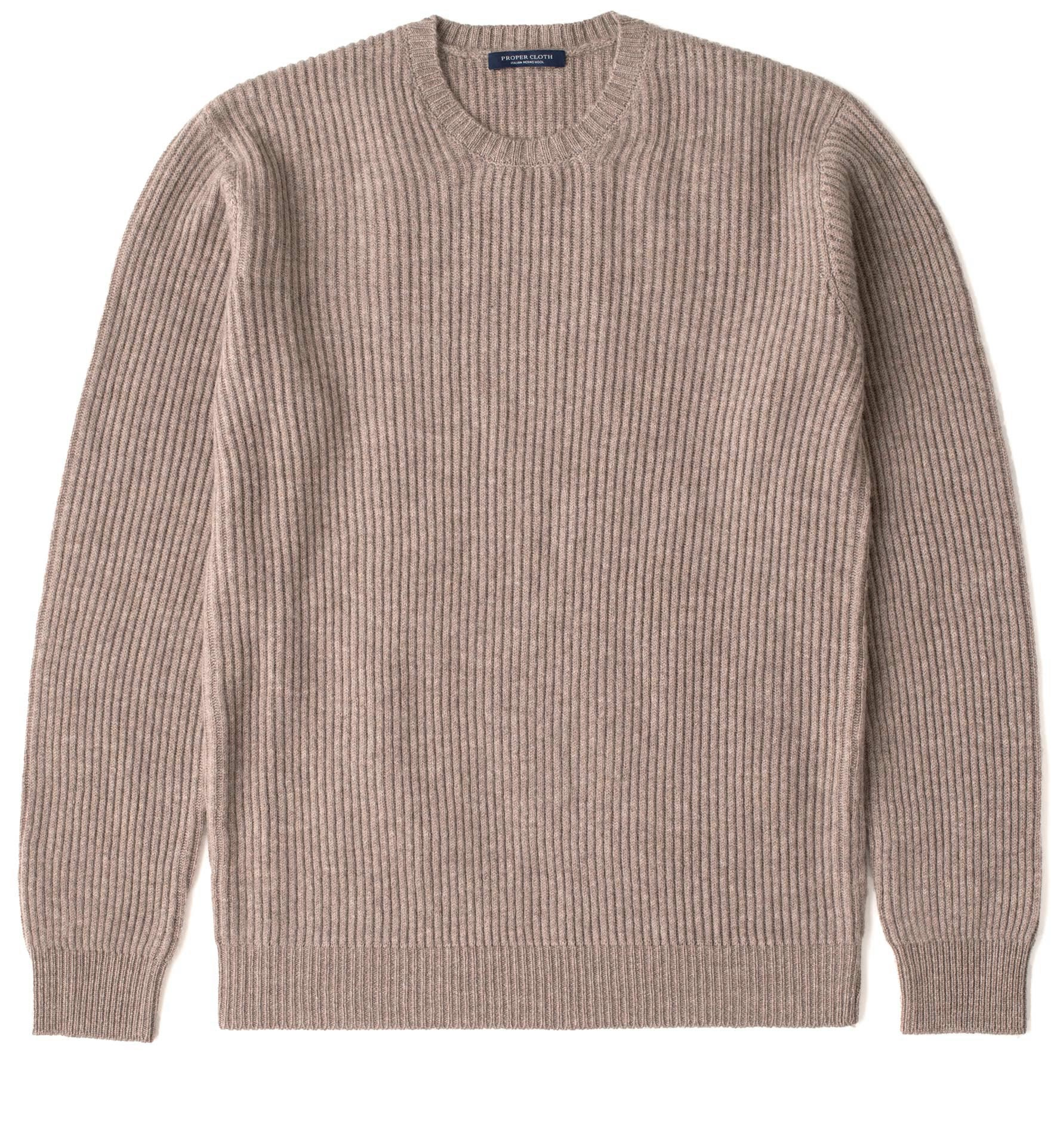 Taupe Ribbed Wool and Cashmere Sweater by Proper Cloth