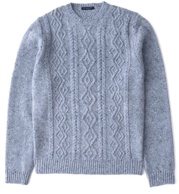 Glacier Donegal Wool and Cashmere Aran Sweater