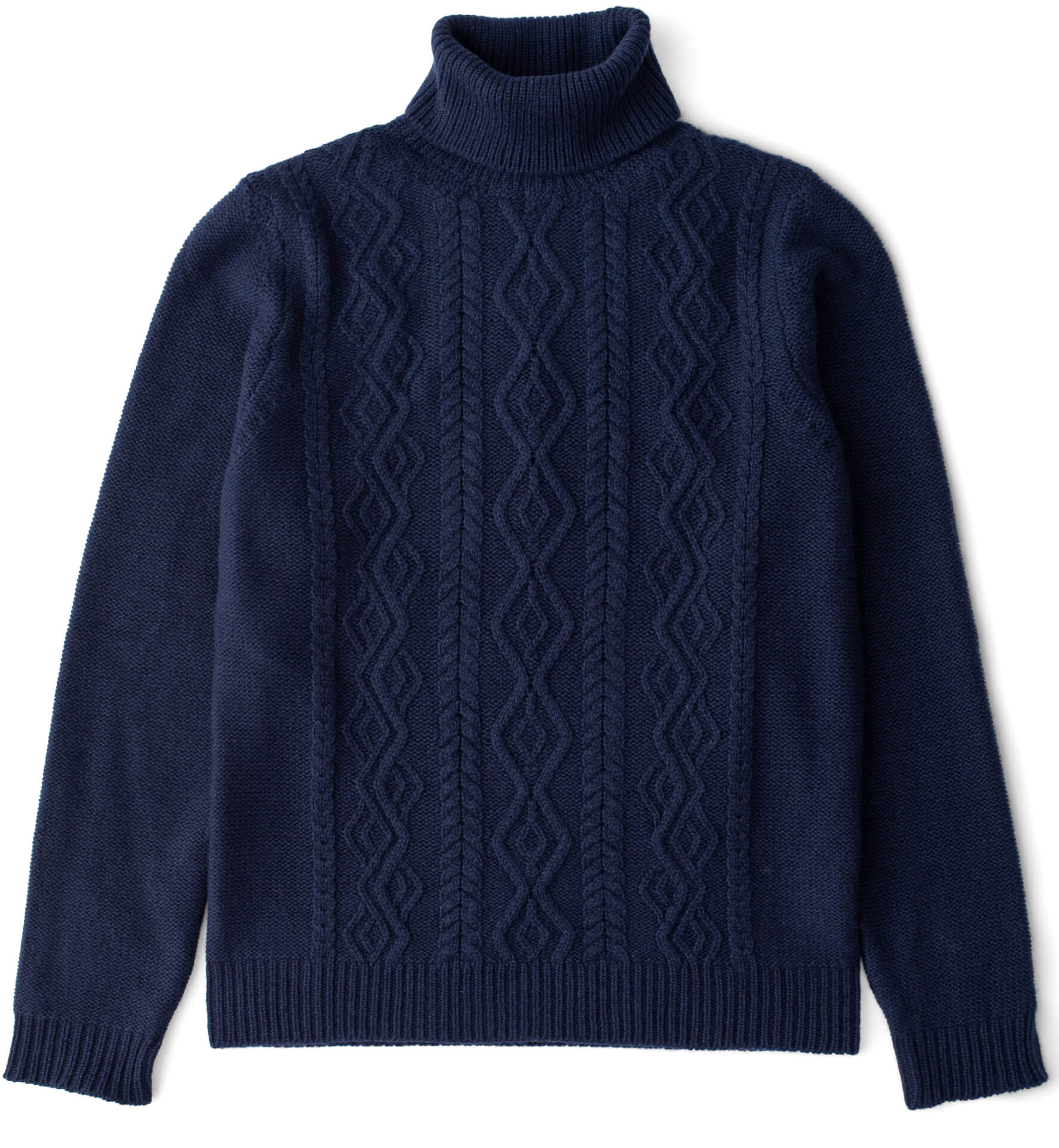 Zoom Image of Navy Wool and Cashmere Aran Rollneck Sweater