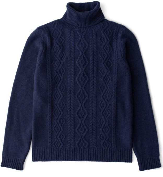 Navy Wool and Cashmere Aran Rollneck Sweater