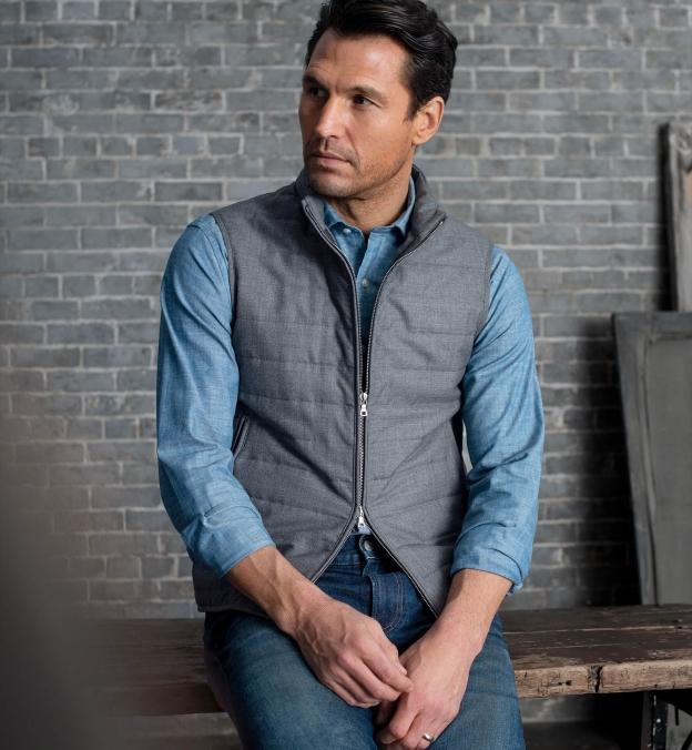 Brera Grey Lightweight Wool Zip Vest