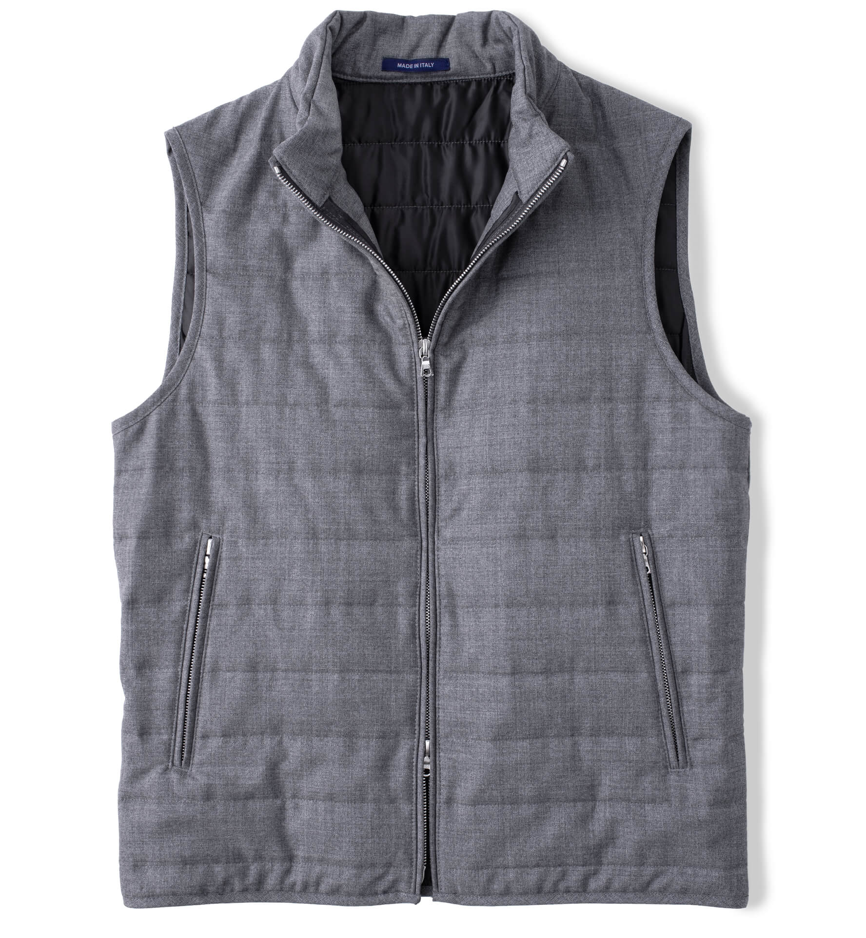 Zoom Image of Brera Grey Lightweight Wool Zip Vest