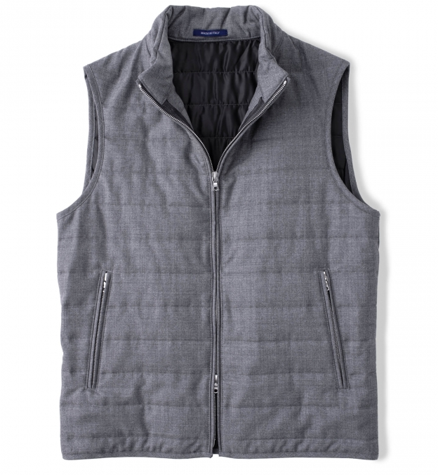 Brera Grey Lightweight Wool Zip Vest