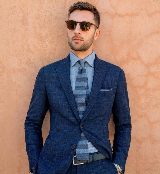 Slate Tonal Bar Stripe Linen Knit Tie
