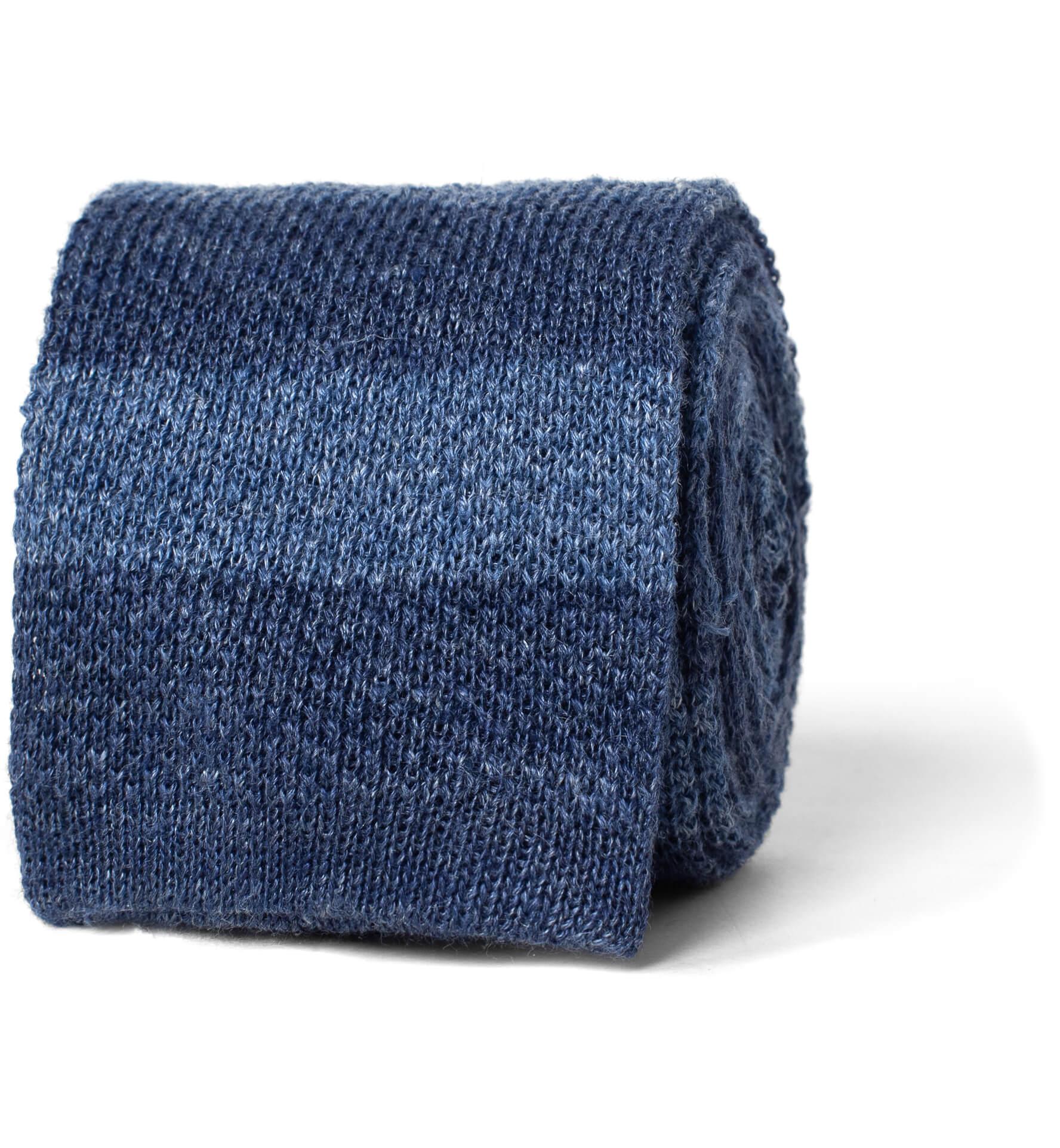 Zoom Image of Slate Tonal Bar Stripe Linen Knit Tie