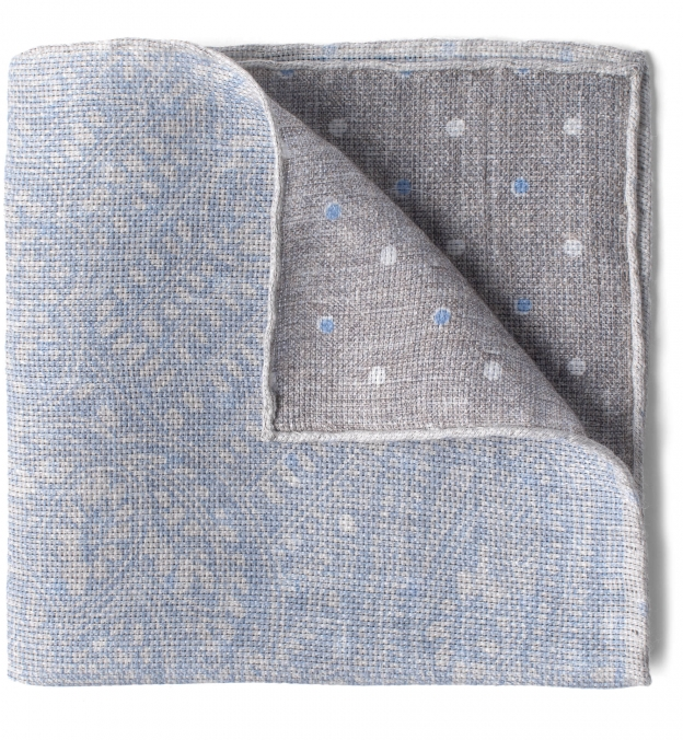 Light Grey Paisley Linen Cotton Pocket Square