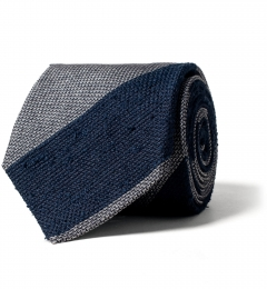 5e0f52c1a30e Navy and Grey Striped Shantung Grenadine Tie