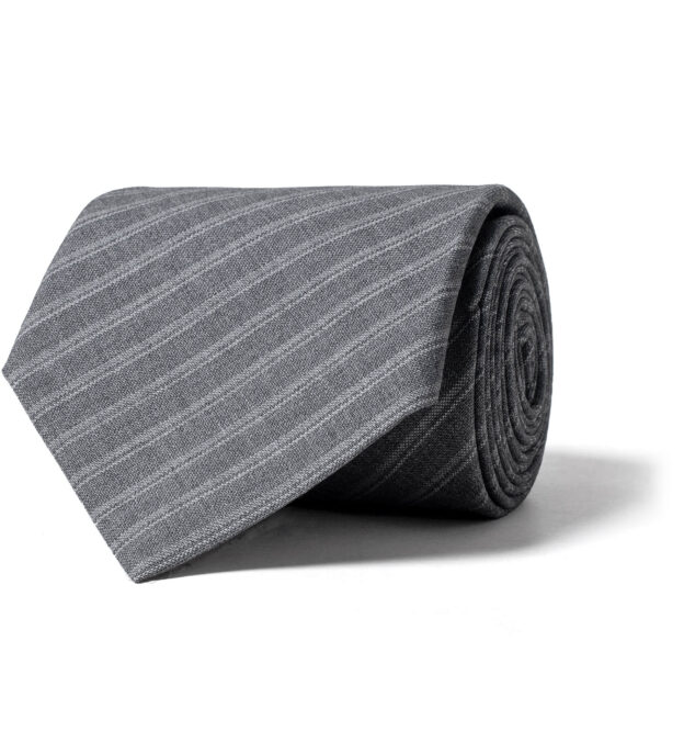 Grey Striped Tropical Wool Tie