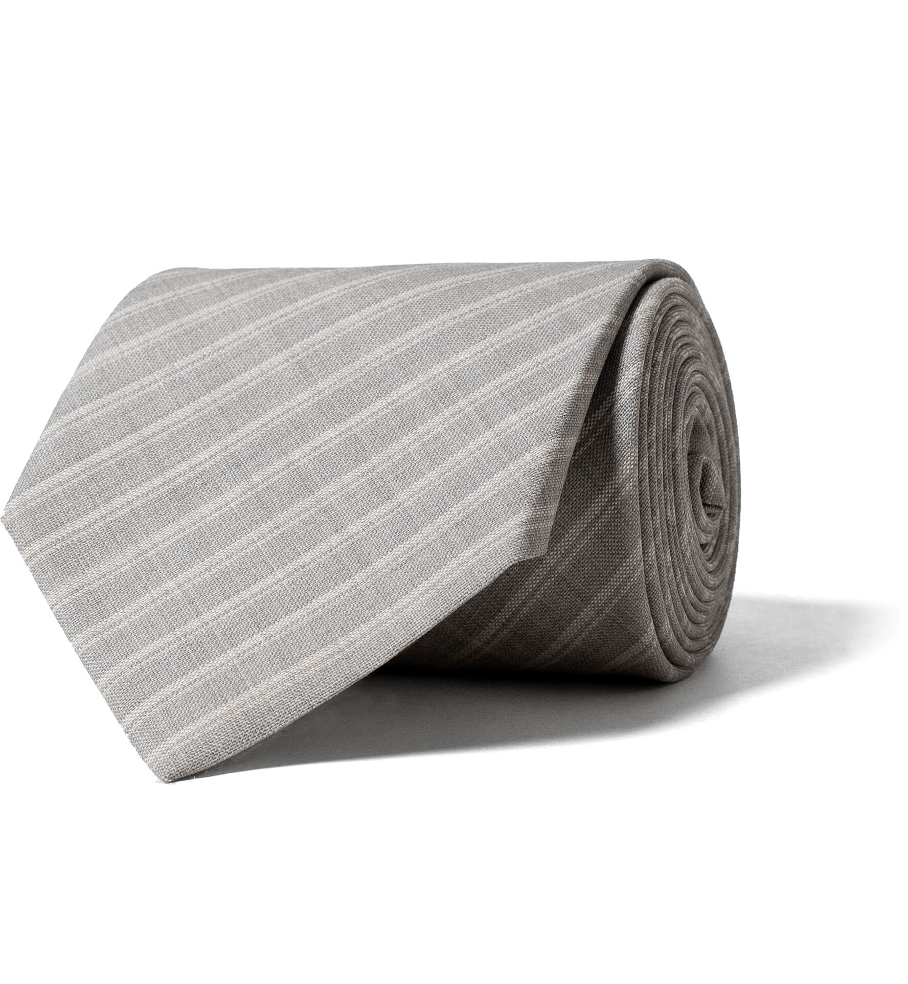 Zoom Image of Light Grey Striped Tropical Wool Tie