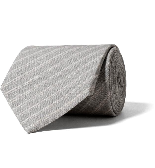 Light Grey Striped Tropical Wool Tie