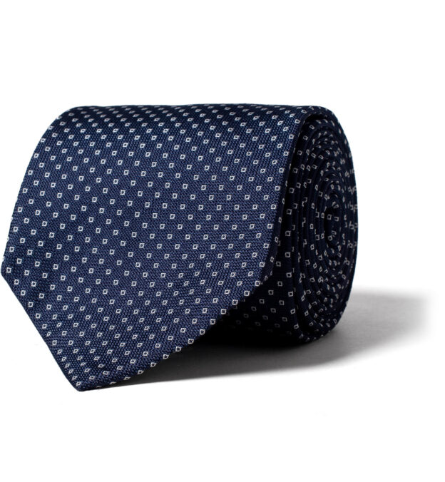 Navy Small Square Print Textured Silk Tie
