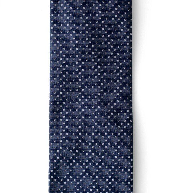 Navy Small Square Print Textured Silk Tie