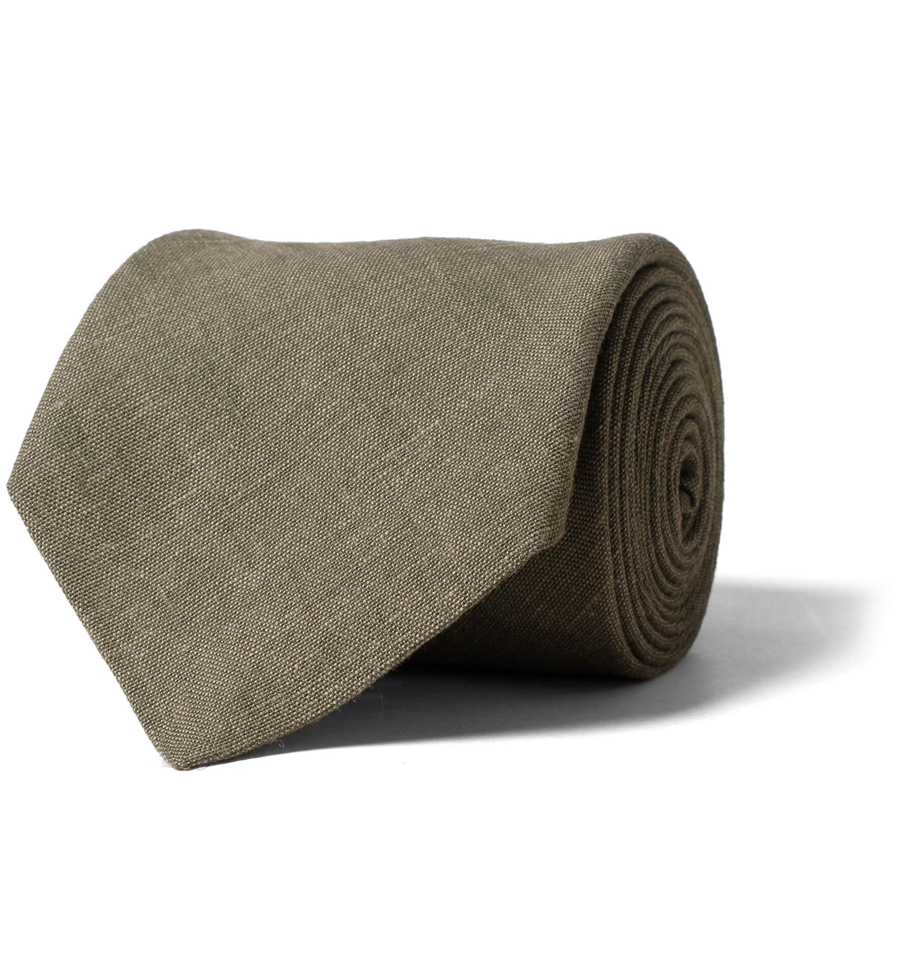 Zoom Image of Fatigue Green Solid Linen Tie