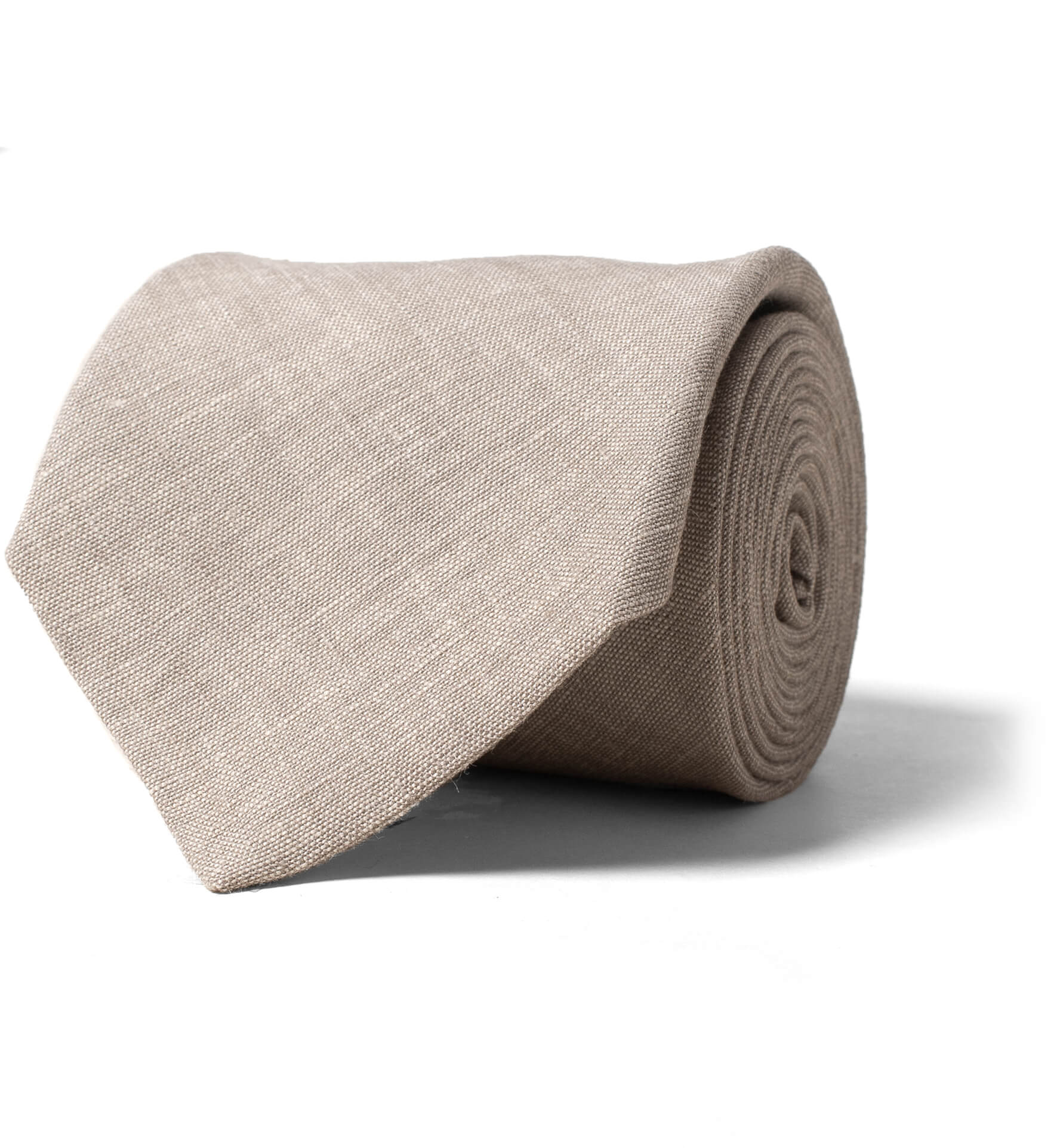 Zoom Image of Beige Solid Linen Tie