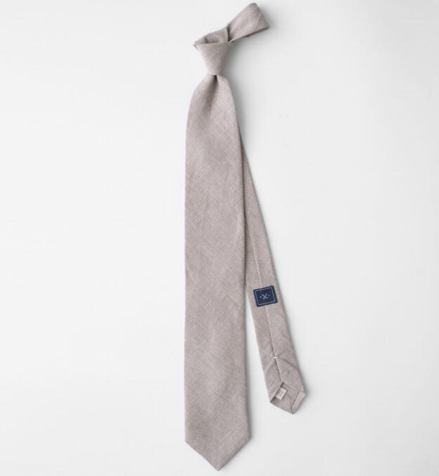 Beige Solid Linen Tie