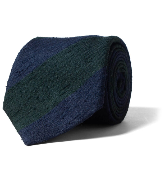 Navy and Green Shantung Stripe Tie
