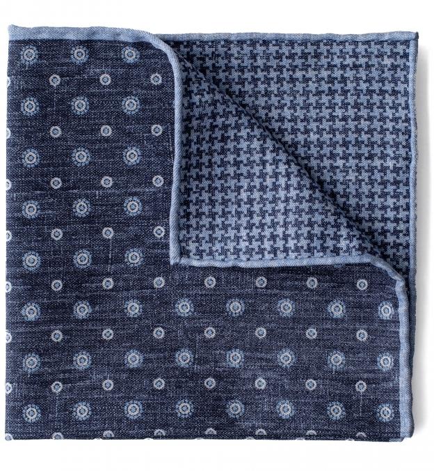 Navy and Light Blue Dot Print Pocket Square