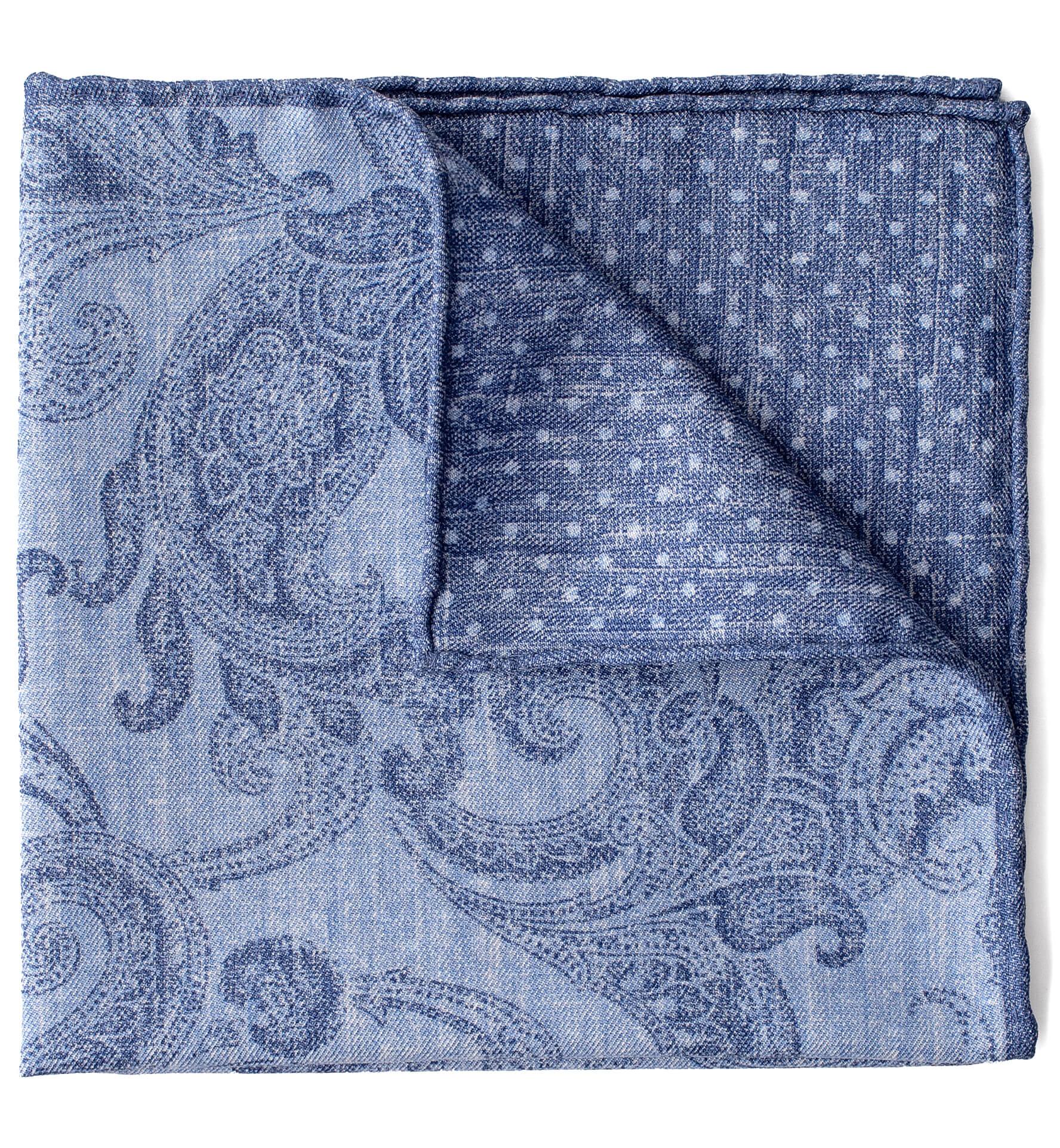 Zoom Image of Blue Tonal Paisley Pocket Square