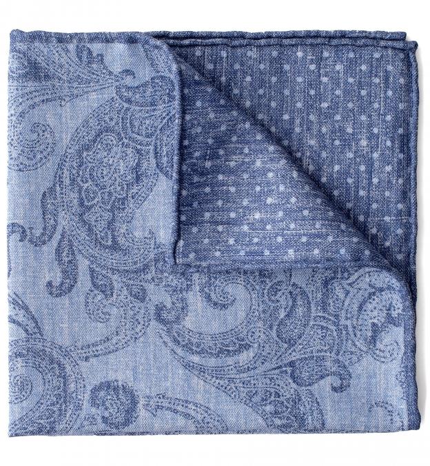 Blue Tonal Paisley Pocket Square