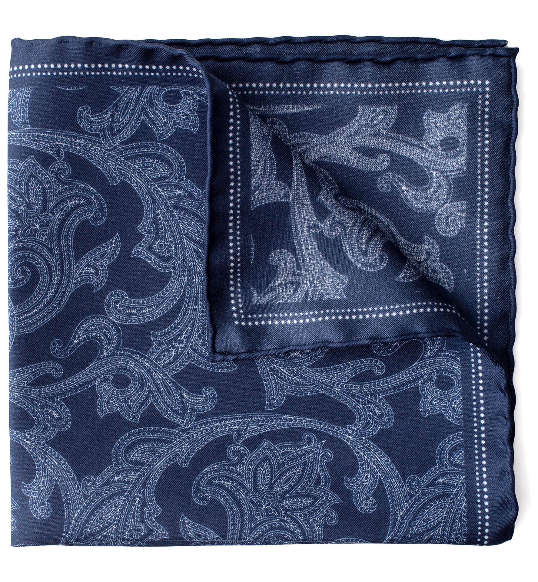 Zoom Image of Navy Paisley Silk Pocket Square