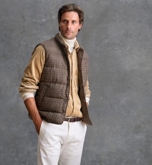Cortina Mocha Plaid Wool Snap Vest