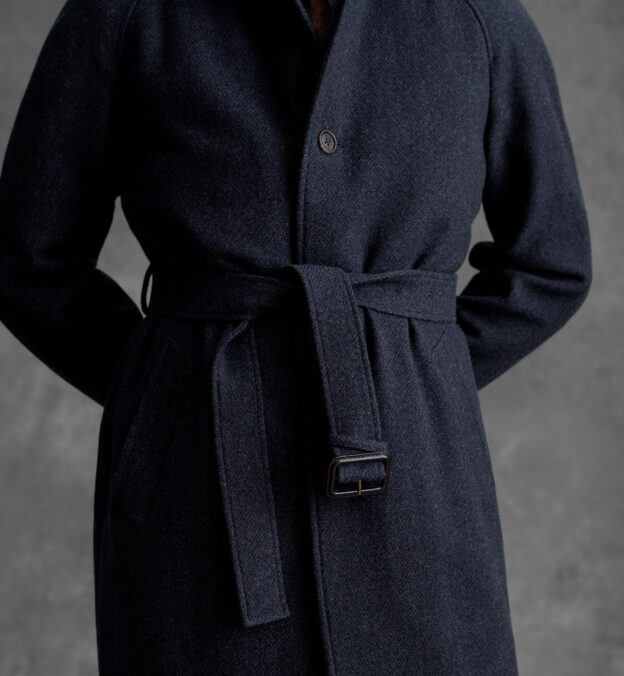 Crosby Navy Wool and Cashmere Belted Coat