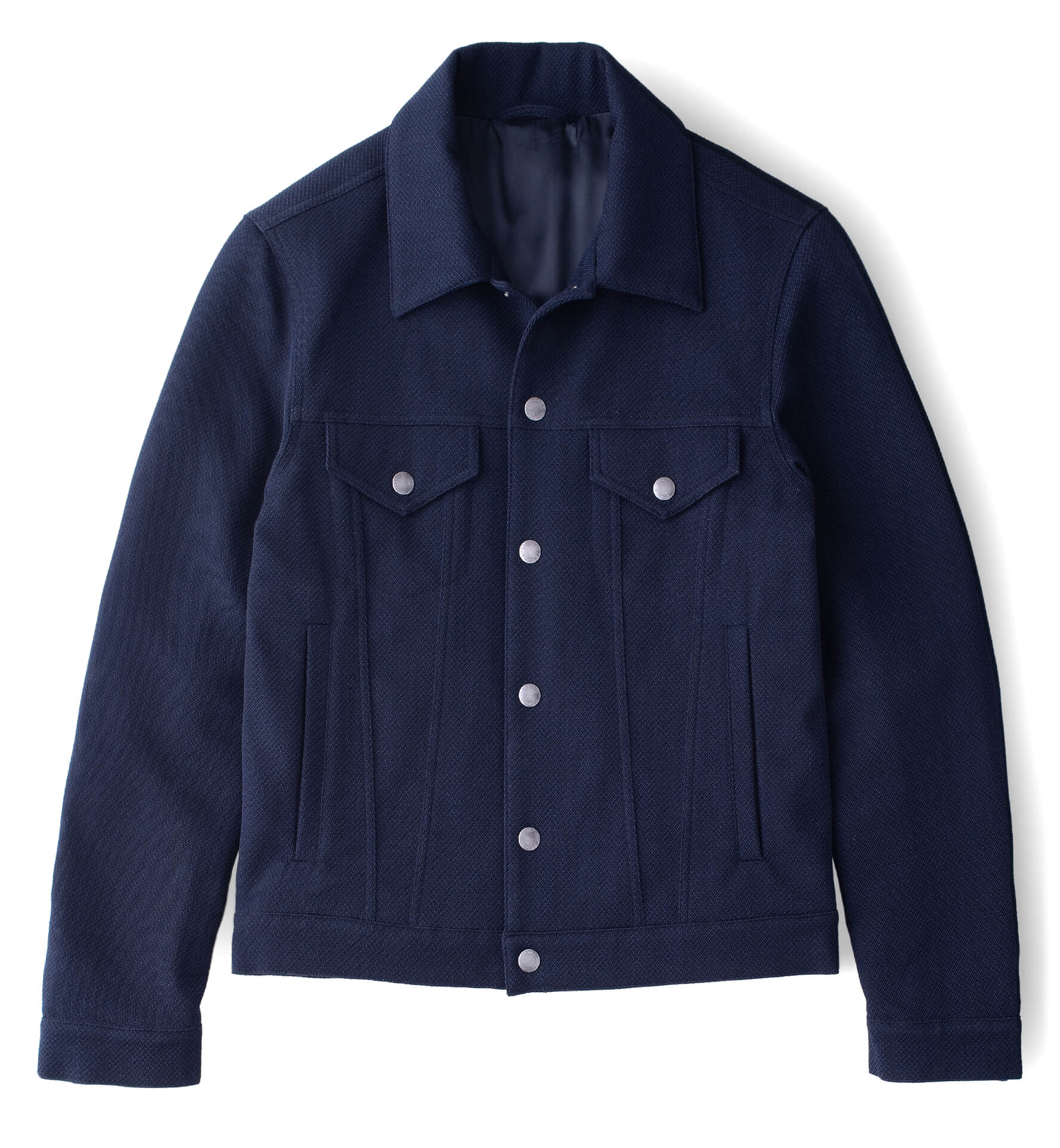 Zoom Image of Lafayette Navy Blue Wool and Cotton Trucker Jacket