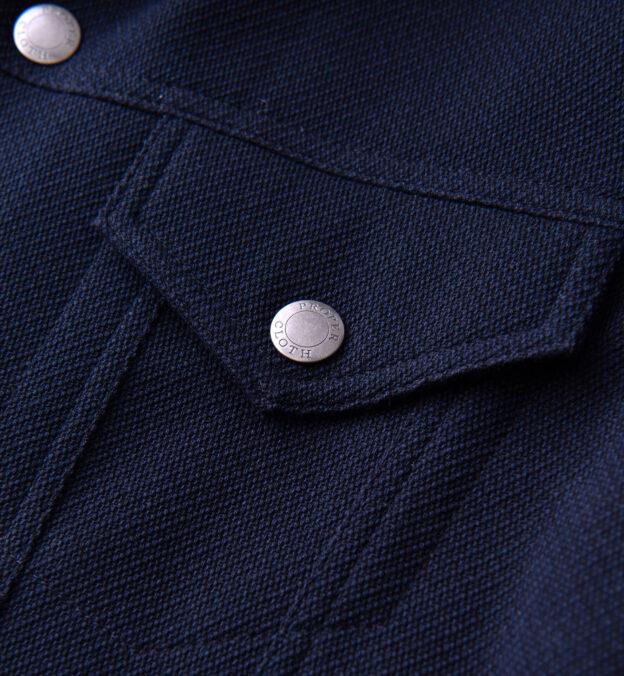 Lafayette Navy Blue Wool and Cotton Trucker Jacket