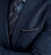 Zoom Thumb Image 4 of Navy and Grey Cotton and Wool Pocket Square