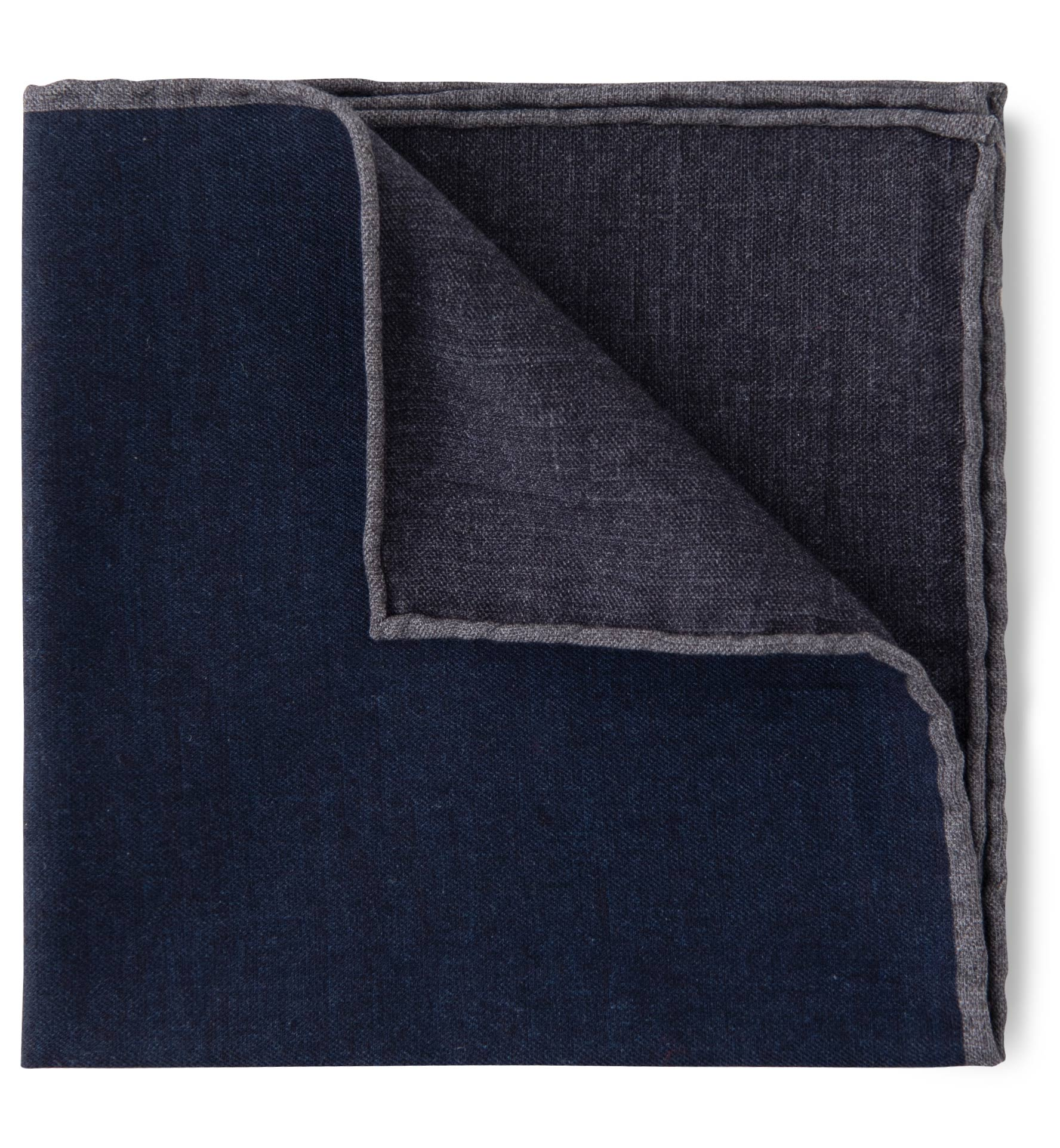 Zoom Image of Navy and Grey Cotton and Wool Pocket Square