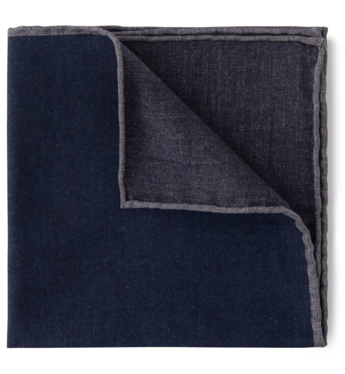 Navy and Grey Cotton and Wool Pocket Square
