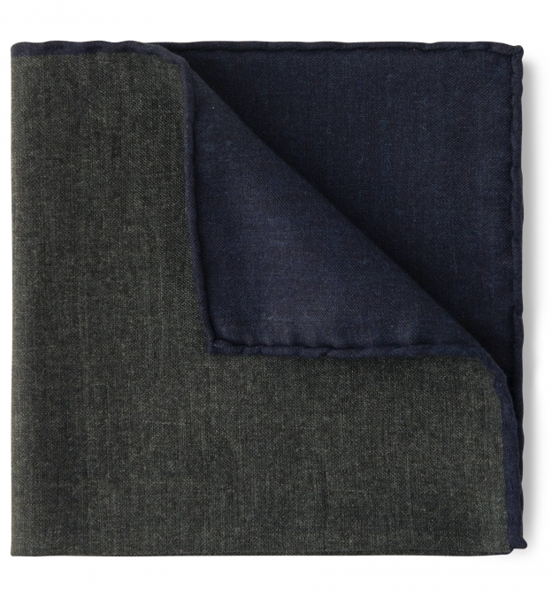 Green and Navy Cotton and Wool Pocket Square