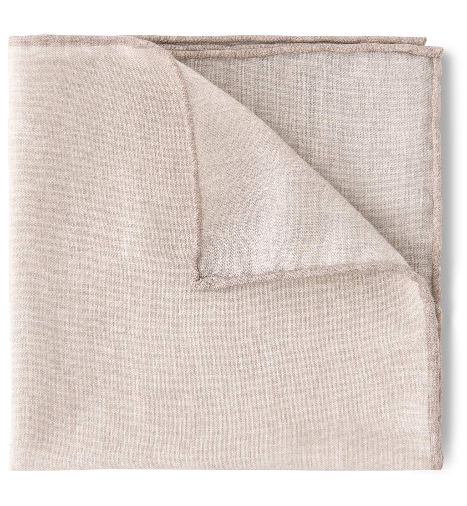 Zoom Image of Natural and Camel Cotton and Wool Pocket Square