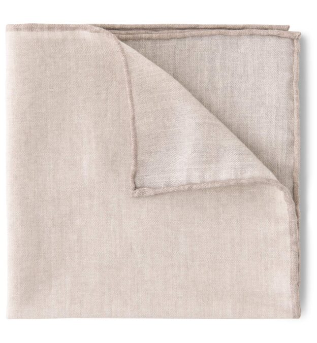 Natural and Camel Cotton and Wool Pocket Square