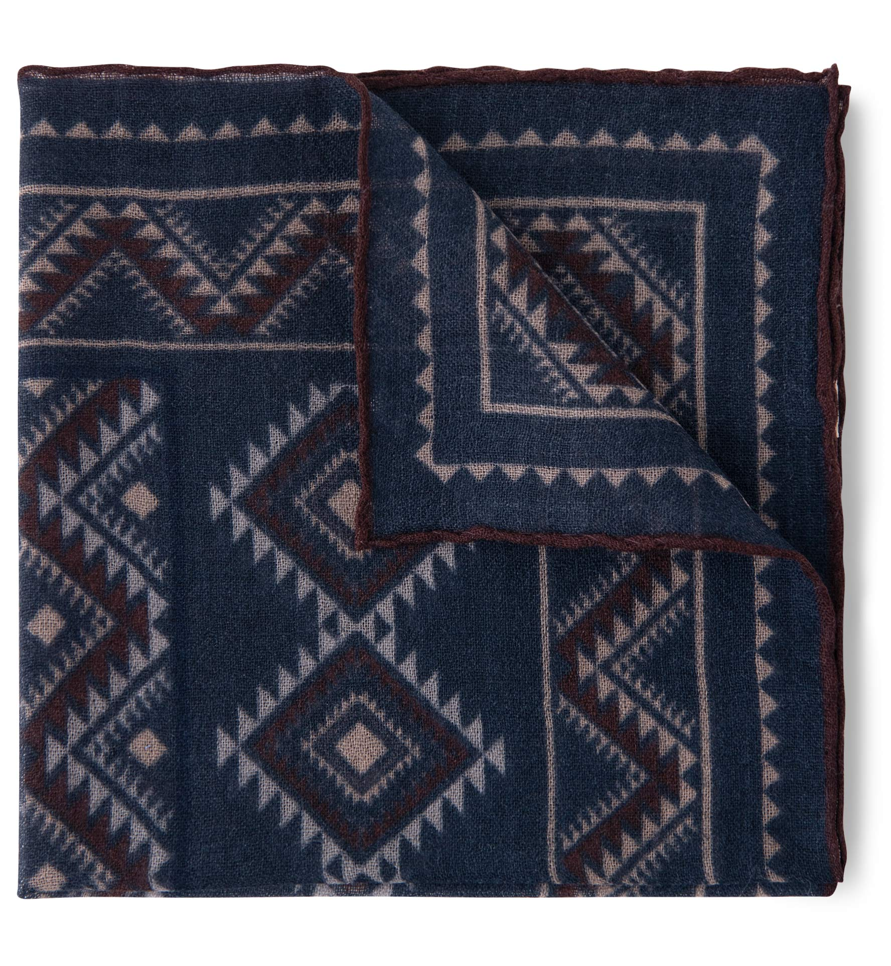 Zoom Image of Navy Southwest Print Wool Pocket Square