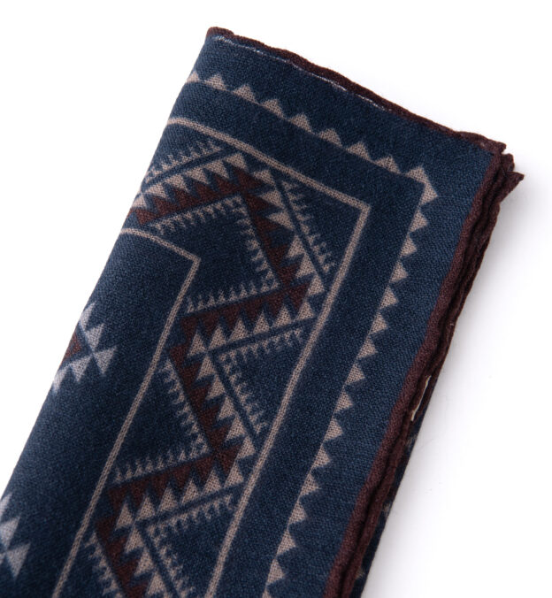Navy Southwest Print Wool Pocket Square