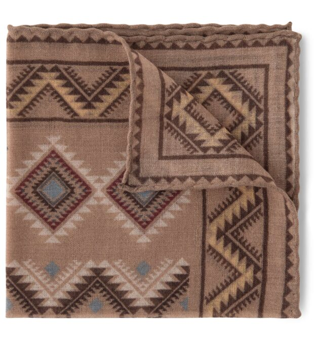 Caramel Southwest Print Wool Pocket Square