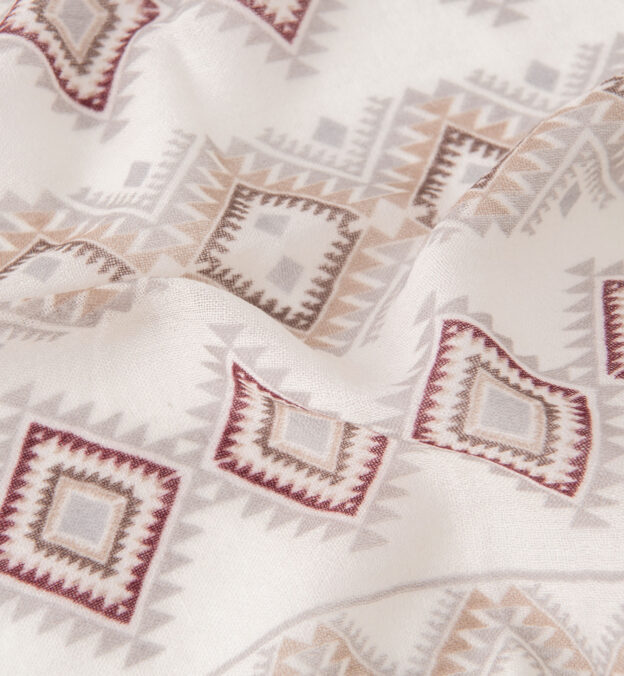Off White Southwest Print Wool Pocket Square
