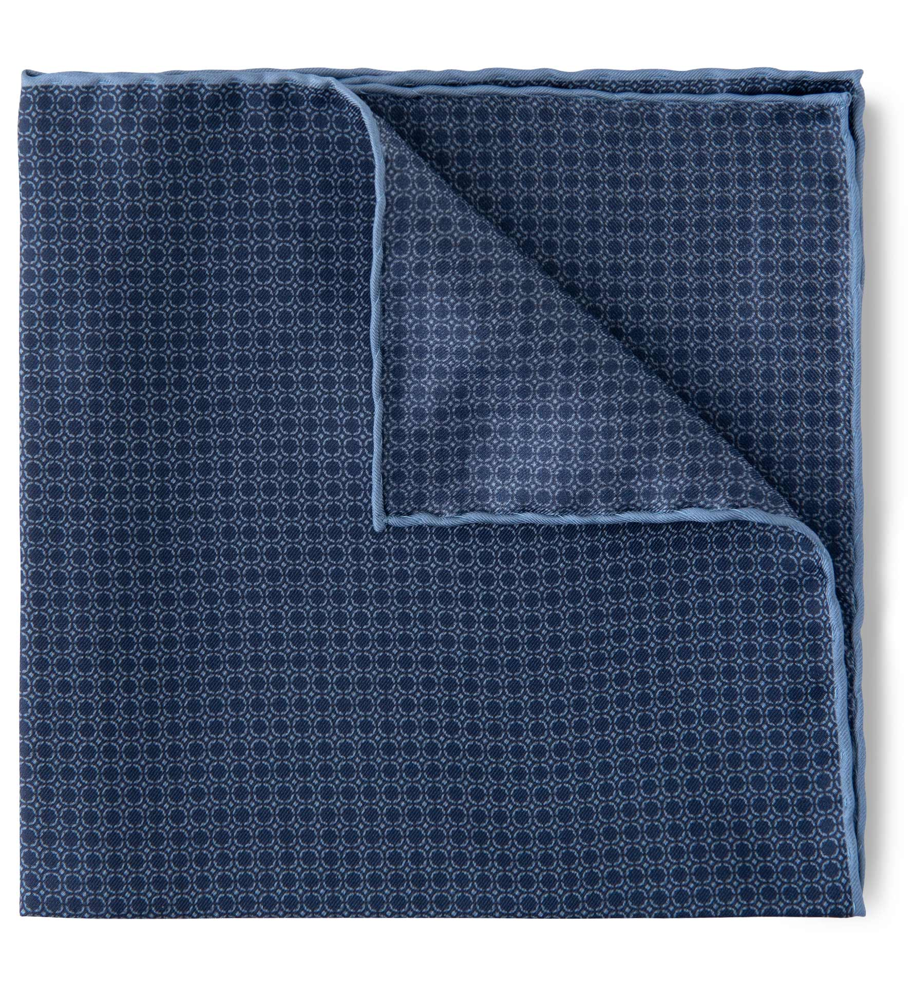 Zoom Image of Navy and Light Blue Silk Pocket Square