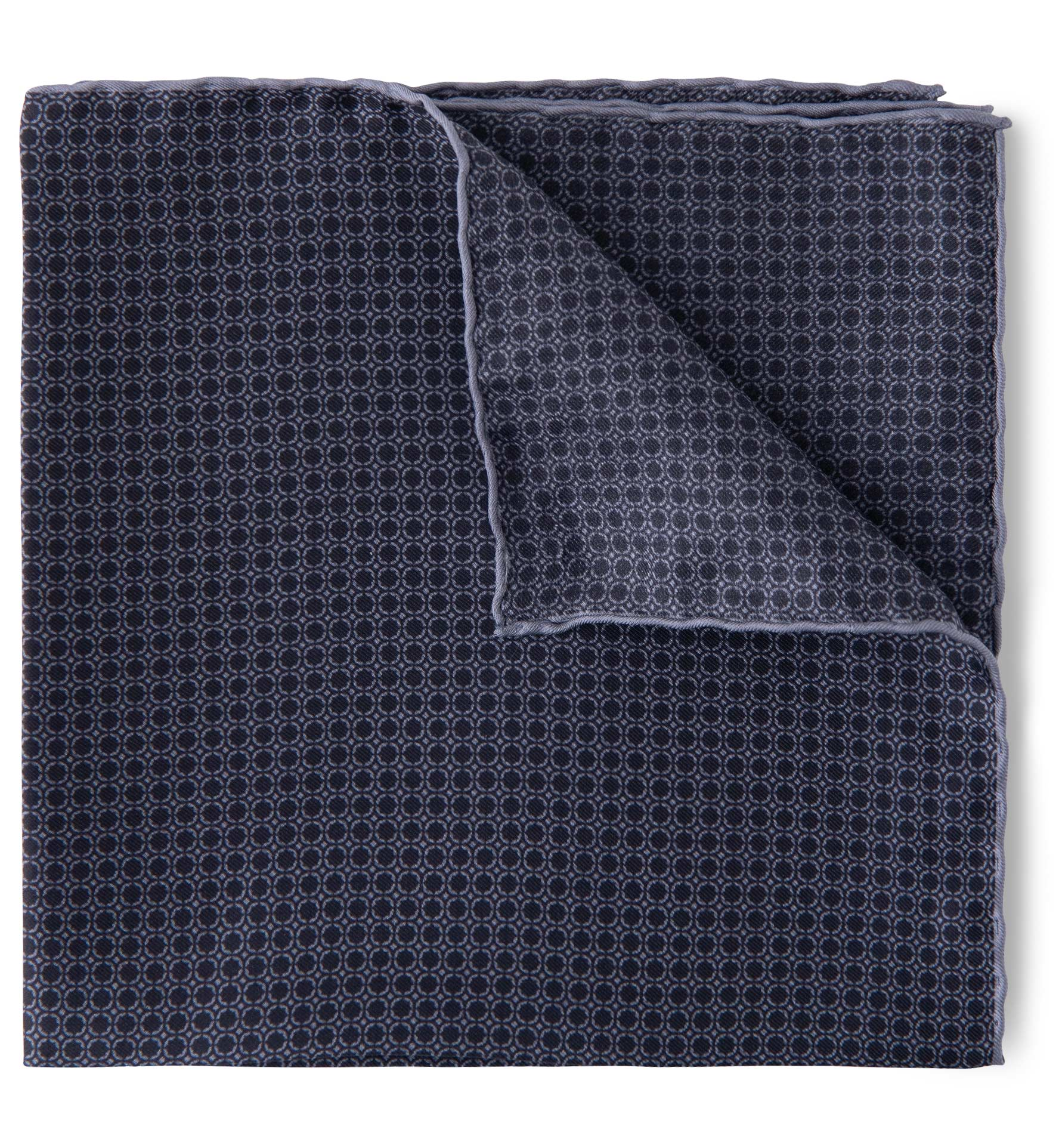 Zoom Image of Black and Grey Silk Pocket Square