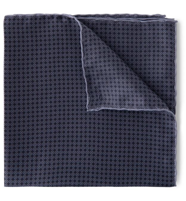 Black and Grey Silk Pocket Square