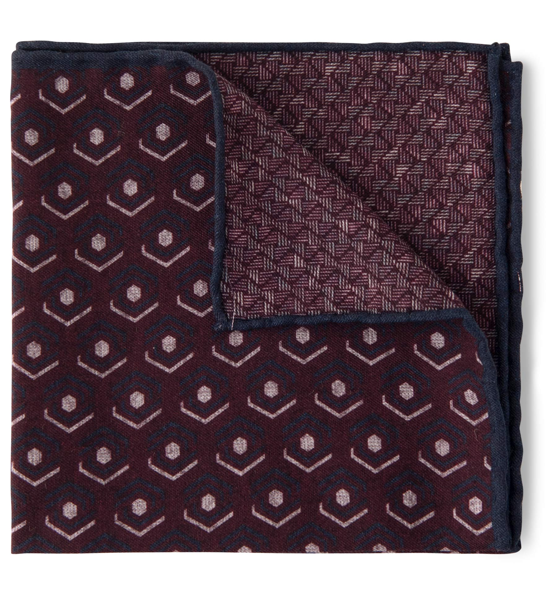 Zoom Image of Burgundy and Navy Retro Print Pocket Square