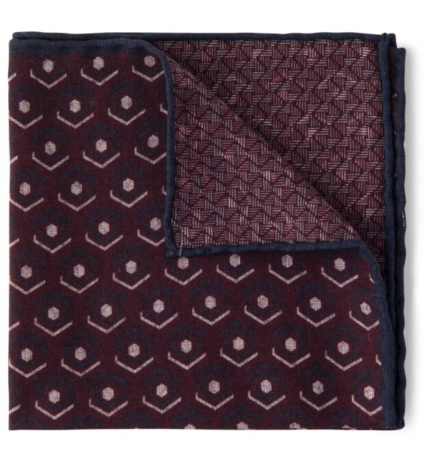 Burgundy and Navy Retro Print Pocket Square