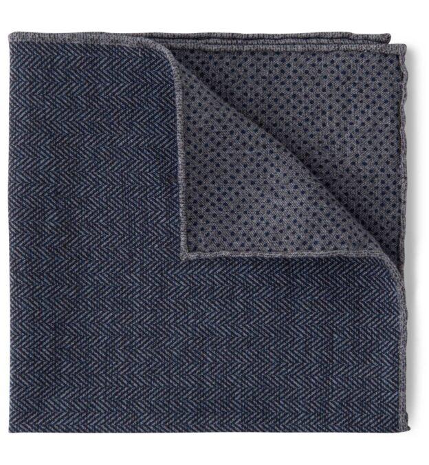 Navy and Grey Herringbone Print Pocket Square