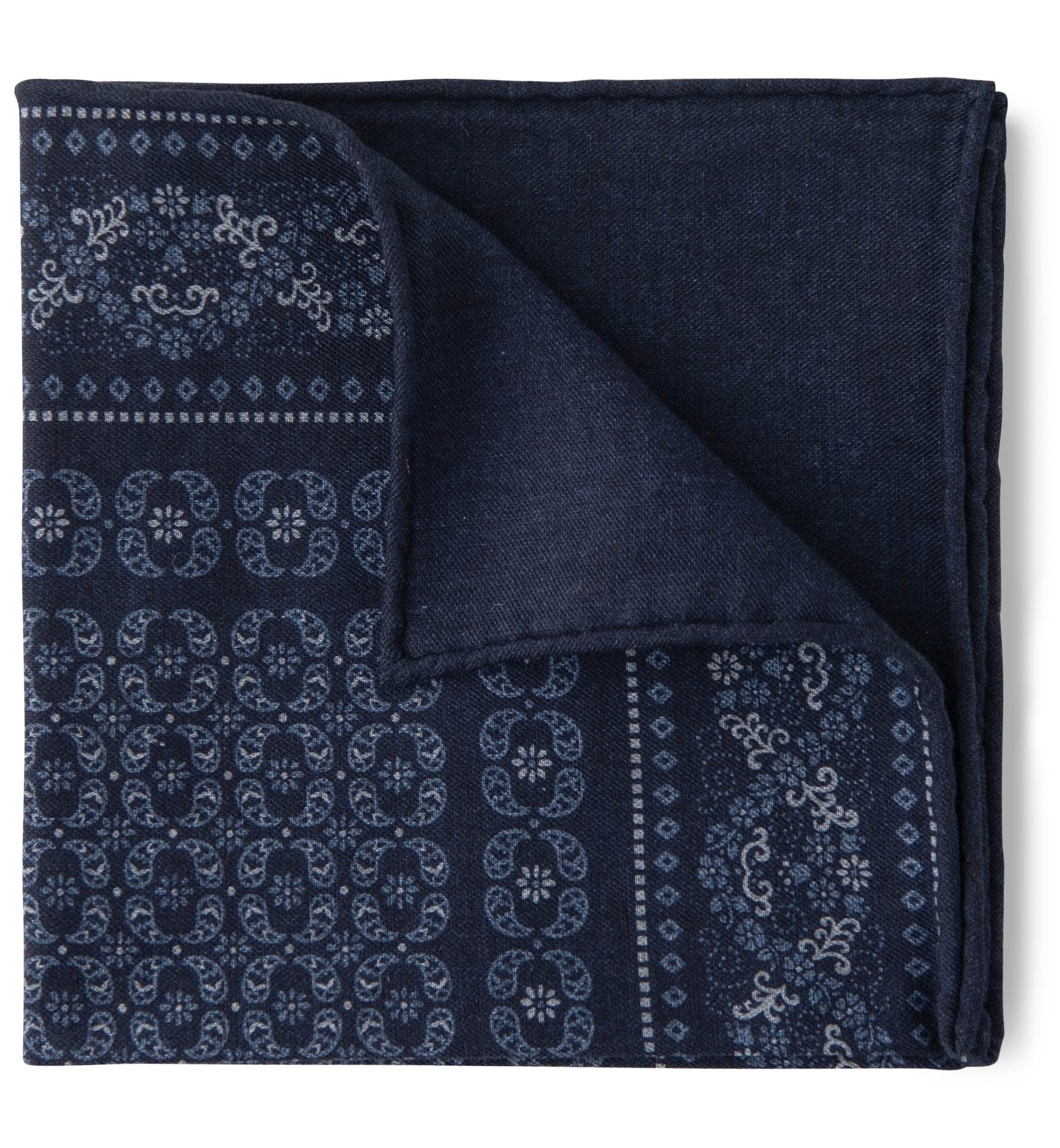Zoom Image of Navy Cotton and Wool Floral Print Pocket Square
