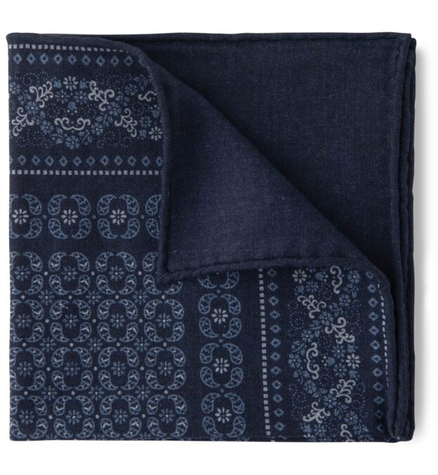 Navy Cotton and Wool Floral Print Pocket Square