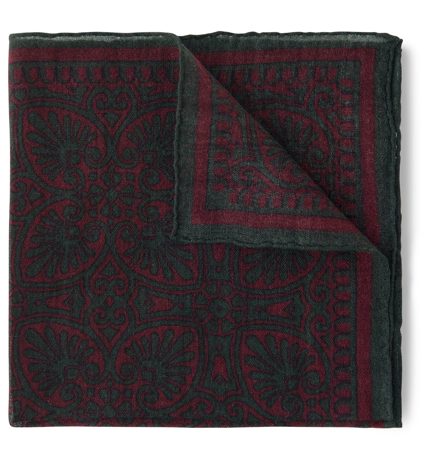 Zoom Image of Faded Scarlet and Green Paisley Pocket Square