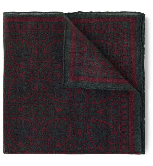 Faded Scarlet and Green Paisley Pocket Square