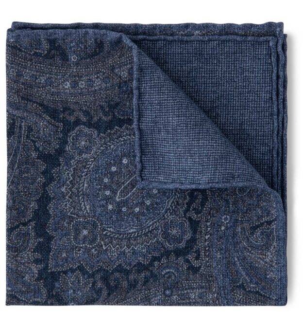 Slate Paisley Wool and Cotton Pocket Square